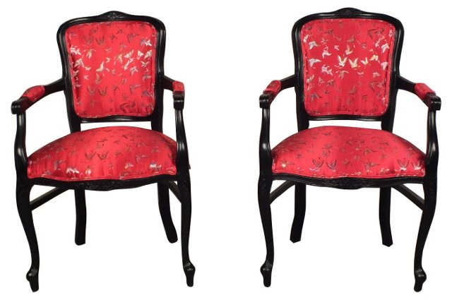 French Silk-Upholstered  Armchairs, Pair