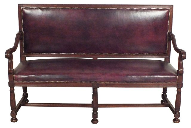 French Leather-Upholstered   Bench