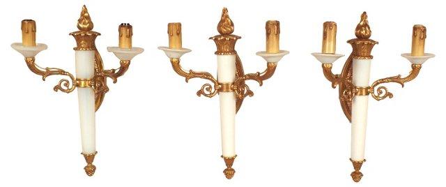 Glass & Brass Sconces, Set of 3