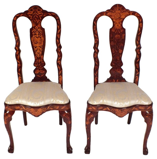 Dutch Marquetry Side Chairs, Pair