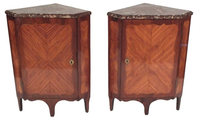 1870s French Corner Cabinets, Pair