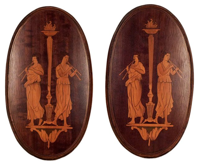 Empire-Style Oval  Plaques, Pair