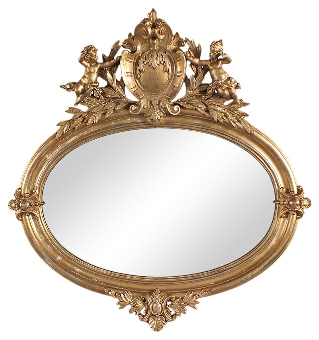 Antique Oval Mirror w/ Cupids