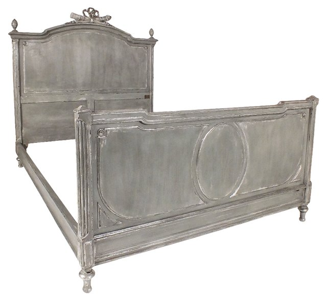 Louis XVI-Style Bed w/ Silver Leaf, Full