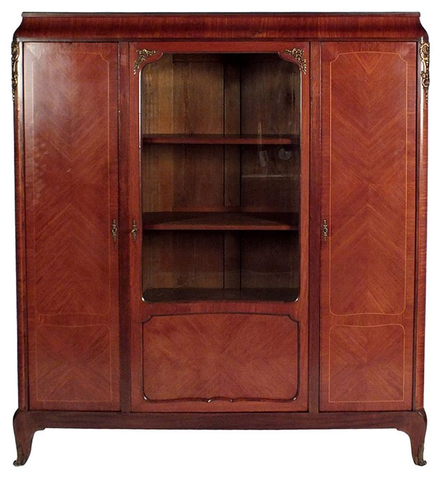 Late-19th-C. Inlaid Mahogany  Bookcase