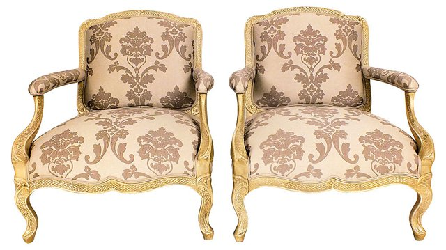 Carved   Armchairs, Pair