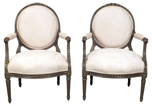 Louis XVI-Style   Armchairs, Pair