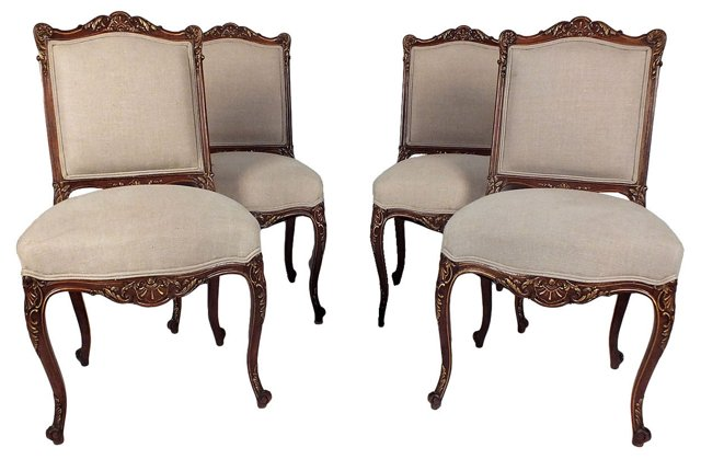 Antique French Dining Chairs, S/4