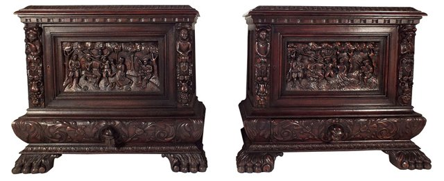 Carved French   Cabinets, Pair