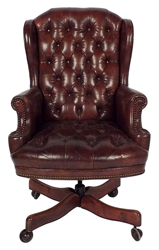 Tufted  Leather & Maple  Desk Chair