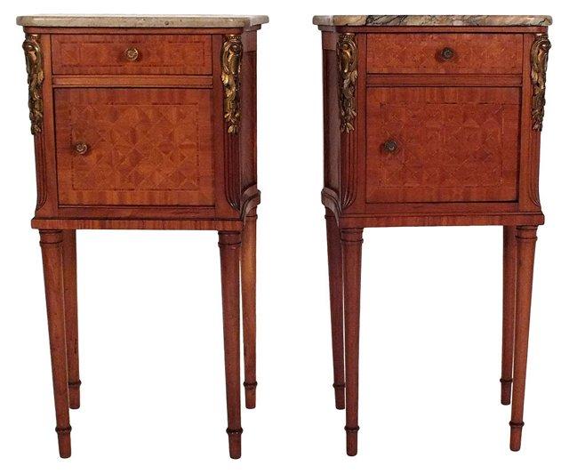 Antique Marble-Top Nightstands, Pair