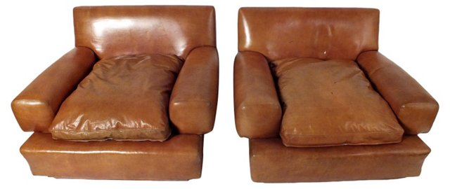 Leather Club  Chairs, Pair DELETE