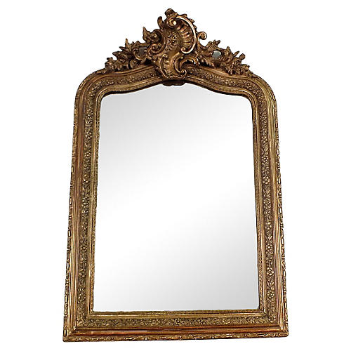 Late-19th-C. Gilt French Wall Mirror