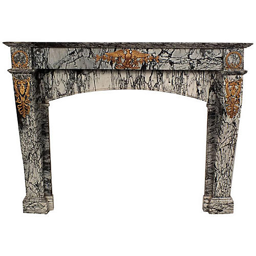 19th-C. Empire Marble Fireplace