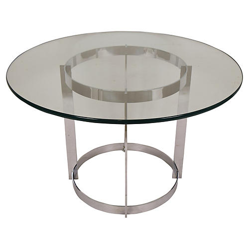 Modern Circular Chrome & Glass Table