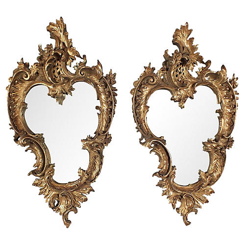 Rococo-Style Gilt Wall Mirrors, Pair
