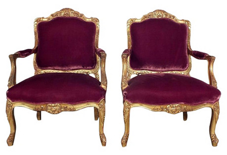 Giltwood Louis XV-Style Fauteuils, Pair