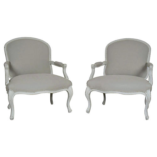 Painted Provincial Wide Armchairs, Pair