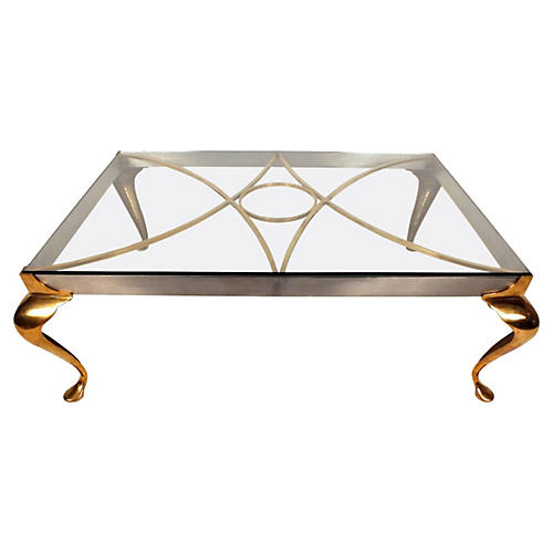 Hollywood Regency Brass Coffee Table
