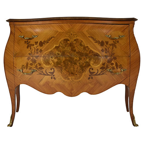Inlaid Louis XV-Style Chest of Drawers
