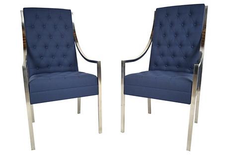 Milo Baughman-Style Armchairs, S/2