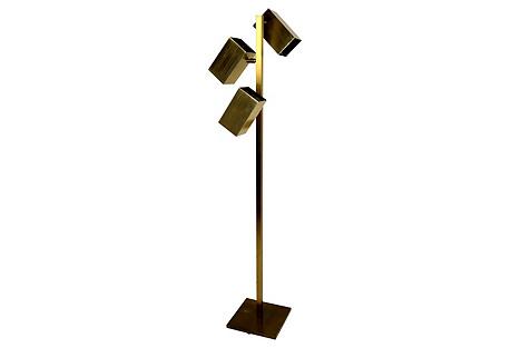 Koch & Lowy Brass Cube Floor Lamp