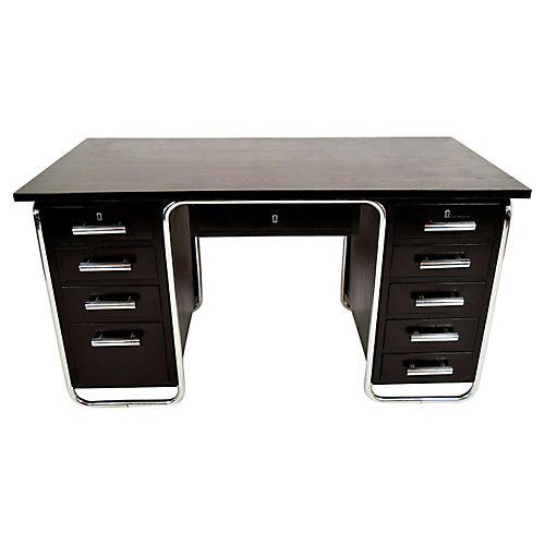 1930s French Modern Chrome Desk