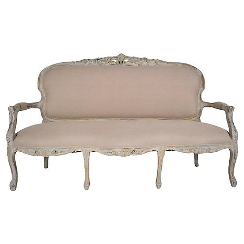 Antique Louis XV Gilt & Painted Sofa