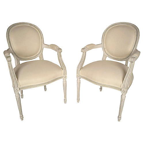 French Louis XVI Style Hall Chairs, Pr