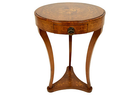 Empire Round Inlaid Side Table, C. 1910