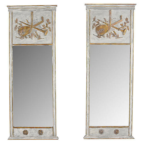 French Louis XVI Trumeau Mirrors, Pair