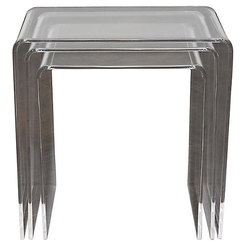 Set of Three Lucite Nesting Side Tables