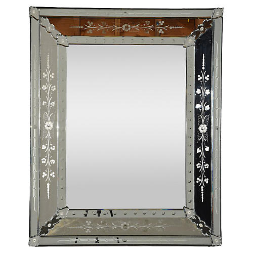 Vintage Venetian-Style Etched Mirror
