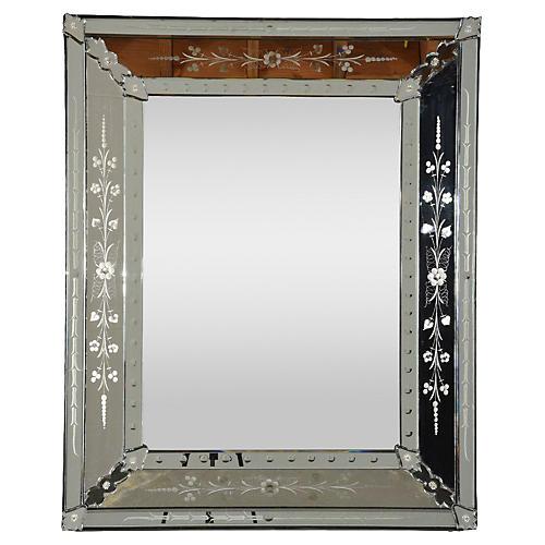 Vintage Venetian-Style Etched Mirror