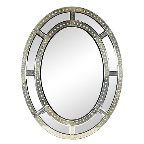 Grand Vintage Venetian-Style Oval Mirror