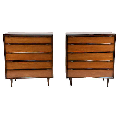 Pair of Mid-Century Bachelor Chests