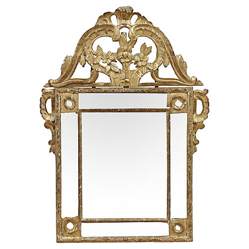 French Louis XVI Giltwood Wall Mirror