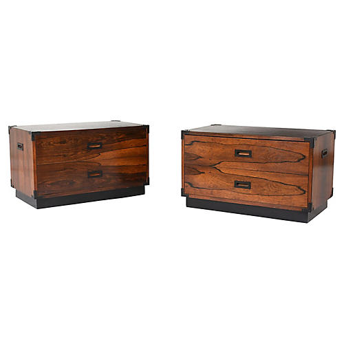Campaign-style Chest of Drawers, Pair