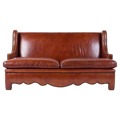 Regency-style Leather Sofa