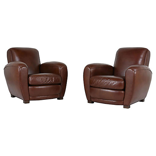 French Art Deco Leather Club Chairs Pair