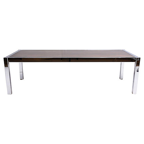 Mid-Century Chrome and Wood Coffee Table