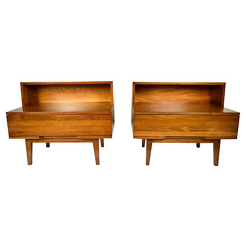 Mid-Century Modern Walnut End Tables, Pr