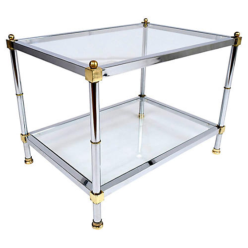 Chrome and Brass Side Table