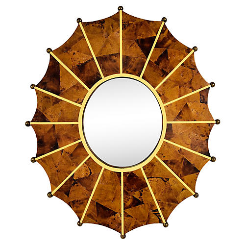 Faux Tortoise Shell Wall Mirror