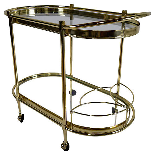 Italian Regency-style Oval Tea Cart