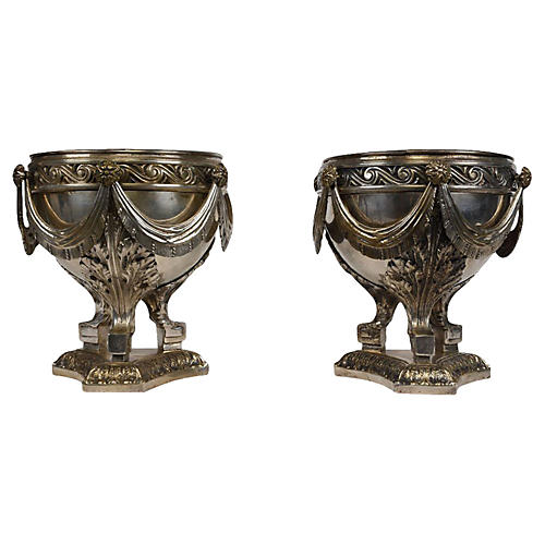 Silver-Plated Bronze Urns, S/2