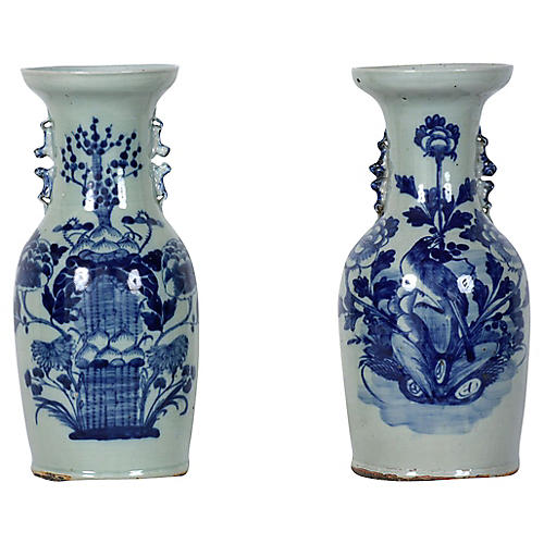 1930s Chinese Blue & White Vases, Pair