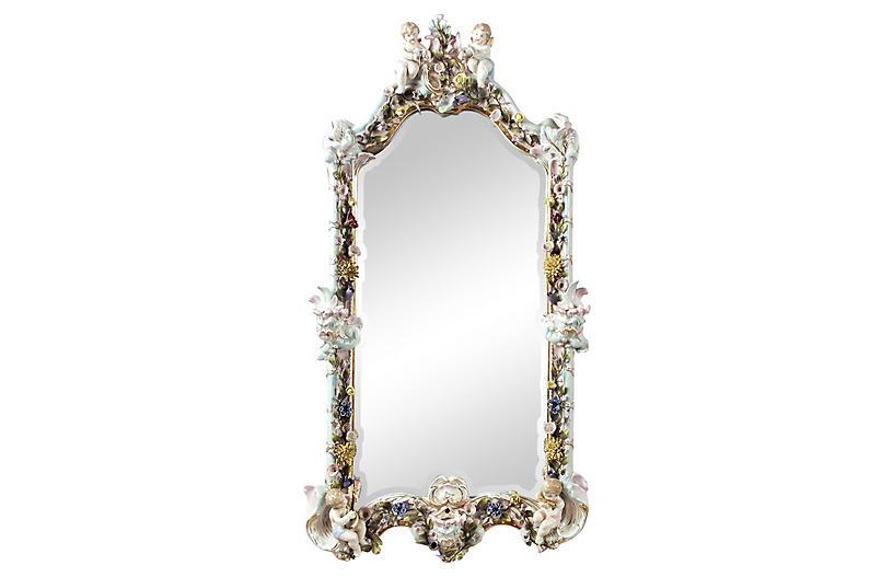 Porcelain Cherub Mirror w/ Candleholders