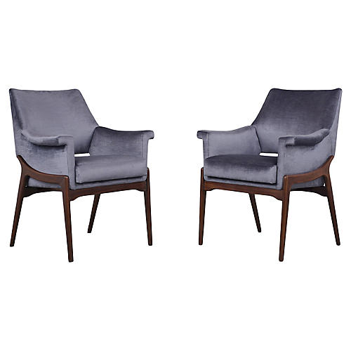 Stylish Modern Rosewood Lounge Chairs