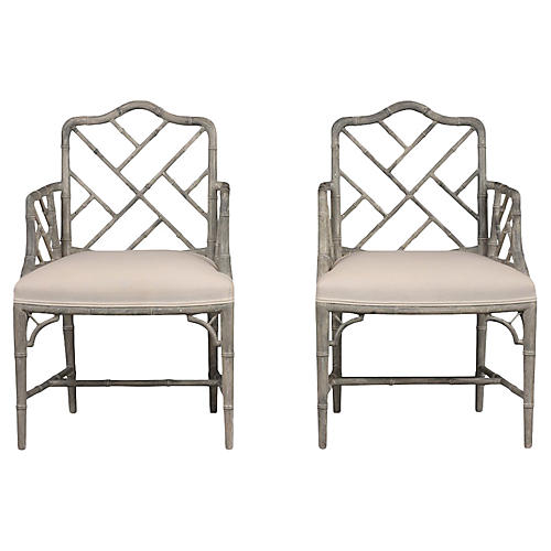 Pair of Carved Bamboo Design Armchairs